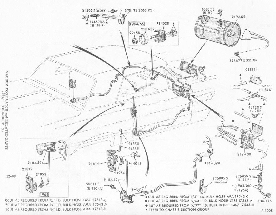 1964-1966 Thunderbird vacuum door lock diagram