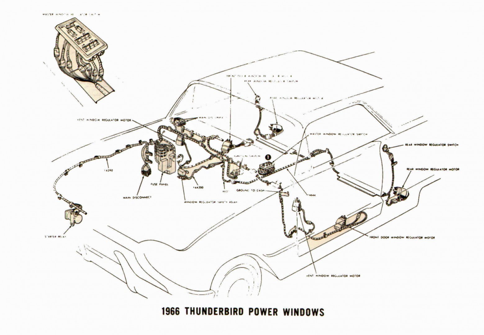 1966 Ford Thunderbird power windows ford thunderbird shop manuals Solenoid Switch Wiring Diagram at beritabola.co