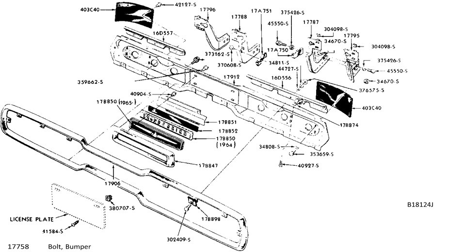 1966 rear bumper assembly